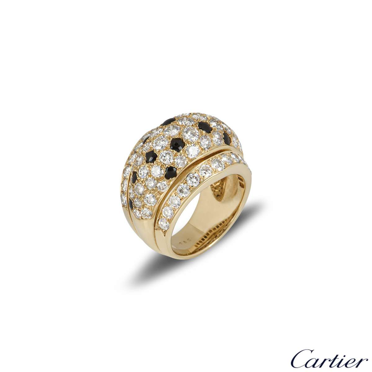 Cartier Yellow Gold Onyx and Diamond Nigeria Ring